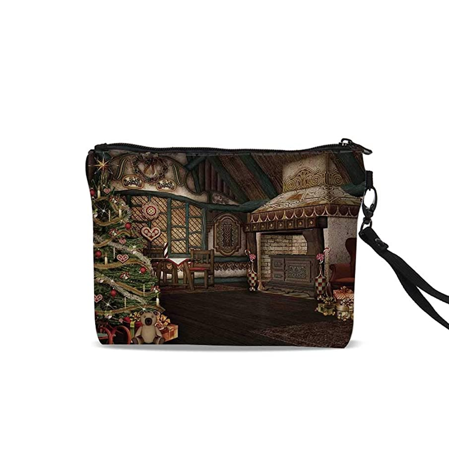 Christmas Portable Art Storage Bag with Cosmetics,Inner View of a Xmas House Mistletoe Yuletide Winter Season Celebration Image For Women Girl,9