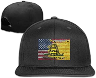 Prohats Don't Tread On Me American Flag Unisex Causal Fitted Flat Bill Skater Cap for Men and Women