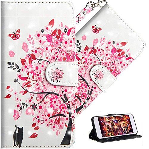 HMTECH Coque Huawei Y6 2019,Portefeuille Etui Housse pour Huawei Y6 2019 Coque 3D Luxu Paillette Anime Paillon Fleur PU Cuir Flip Wallet Étui Coquille Couverture pour Huawei Y6 2019,YX Cat Tree