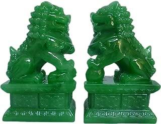 Amperer Feng Shui Porsperity 2 PCS Fu Foo Dogs Pair of Green Guardian Lion Statues Best Housewarming Congratulatory to Ward Off Evil Energy Home Feng Shui Decor (Green)