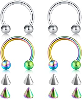 14G 16G 18G 20G Surgical Steel Nose Septum Horseshoe Hoop Eyebrow Lip Navel Belly Nipple Piercing Ring 8mm 10mm Helix Tragus Daith Rook Earrings w Replacement Spikes
