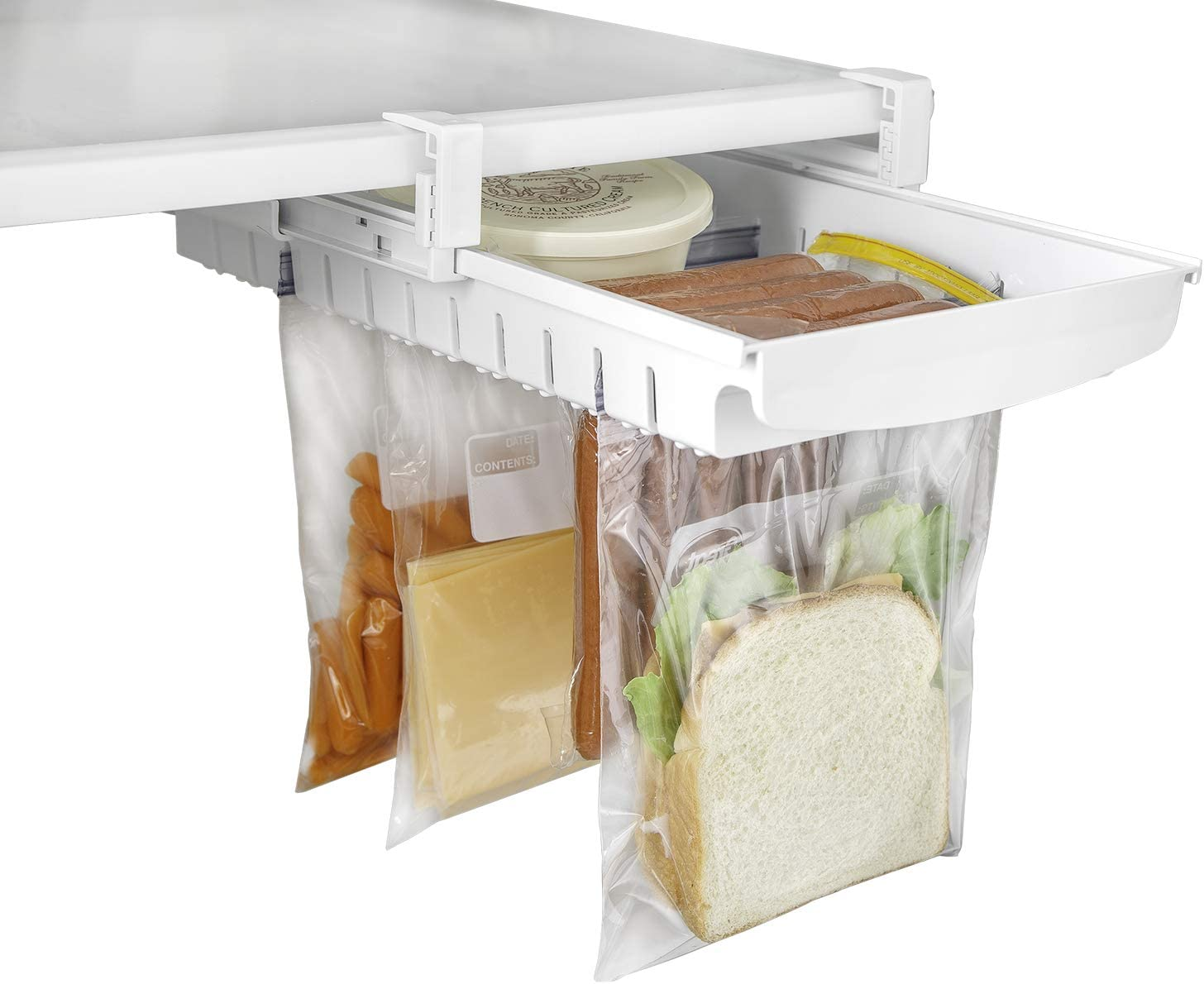 Smart Design Refrigerator Pull Out Bag Hanging Drawer & Home Organizer - Extendable Rails & Handle - Fridge, Freezer, Pantry Food Storage - BPA Free - Holds 15 lbs - Kitchen Clear