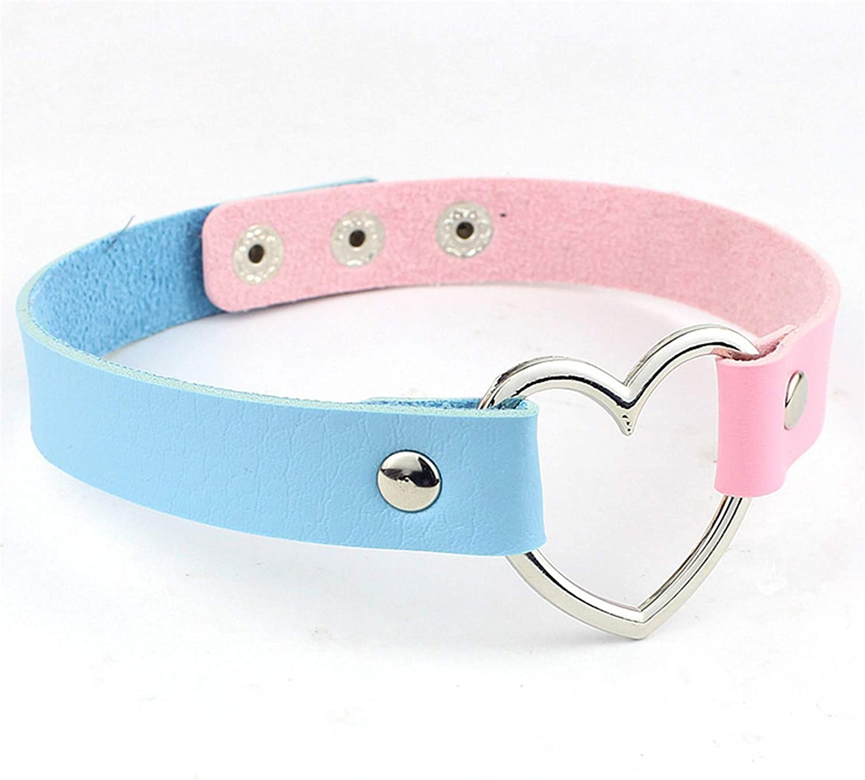 LIUCM Love Heart Adjustable Leather Choker Punk Pu Necklace Goth Choker Soft Collar Chain For Women Girls Cosplayer,Blue+Pink