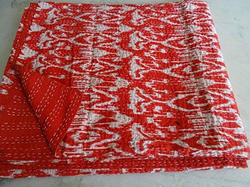 Tribal Asian Textiles Ikat Imprimé King Size Kantha, Kantha Couverture, Housse de Matelas, King Kantha Couvre-lit, Bohemian Parure de lit Kantha Taille 228,6 x 274,3 cm 07