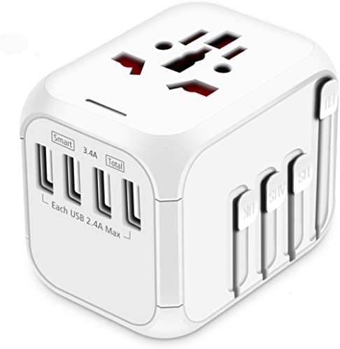 HAOZI Upgraded Travel Adapter, All-in-one International Power Adapter with 4 USB Ports, European Plug Adapter, Univer...