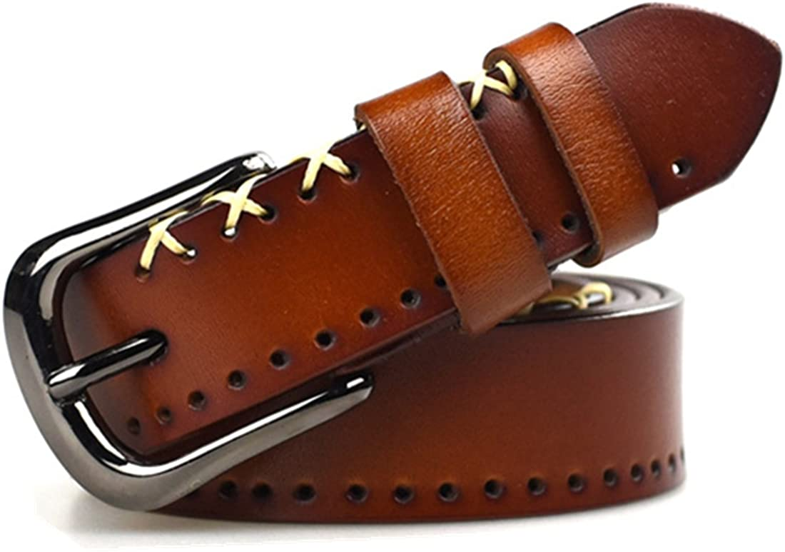 Fashion Real Leather 1.1Inch Wide Belts For Women Teens Girls Jeans Belts Adjustable