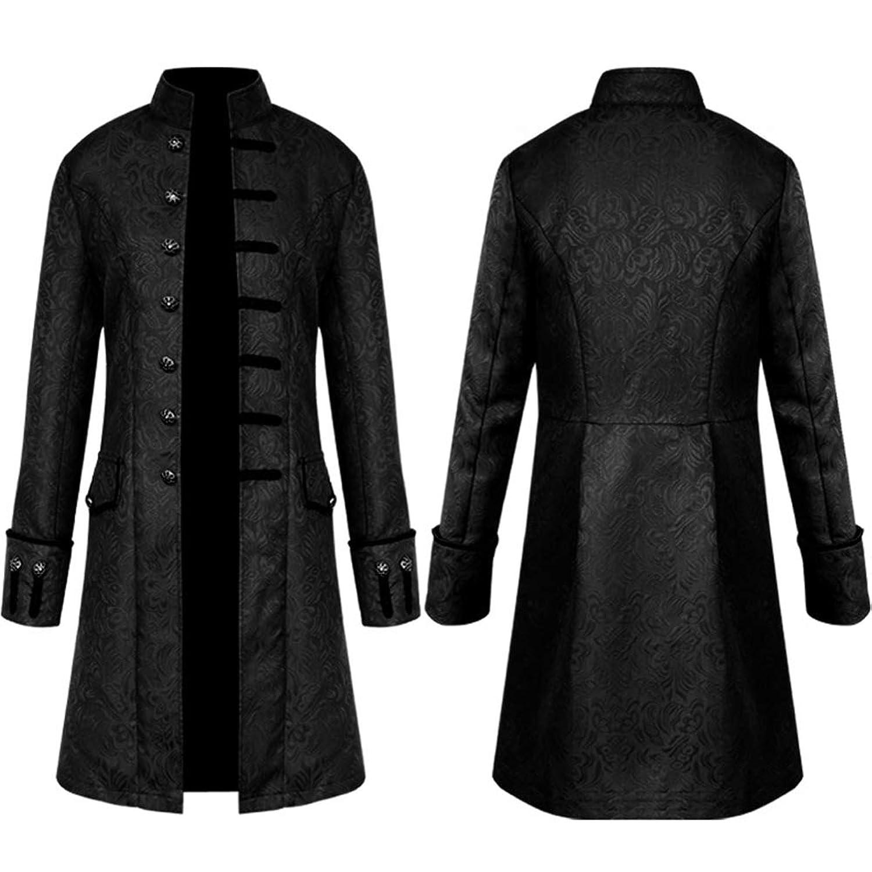 ナポレオン風ジャケット メンズ ロングコート ゴシック V系 ビジュアル系 衣装 ストリート系 礼服 ステージ衣装 ブラック Sサイズ