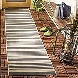 Safavieh Courtyard Collection CY6062-236 Indoor/ Outdoor Runner, 2' 3' x 14', Grey/Bone