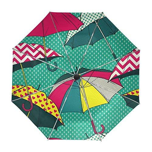 MyDaily Retro Comic Regenschirm, Reise-Regenschirm, automatisches Öffnen, Schließen, UV-Schutz, Winddicht, leicht