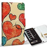 スマコレ ploom TECH プルームテック 専用 レザーケース 手帳型 タバコ ケース カバー 合皮 ケース カバー 収納 プルームケース デザイン 革 ラブリー 赤 レッド ハート 模様 レトロ 007995