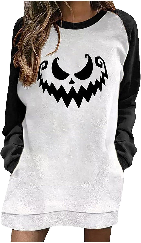 Womens Spooky Szn Skeleton Print Sweatshirt Crew Neck Color Block Pullover Long Sleeve Skull Loose Shirts Blouses
