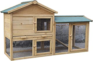 Rabbit Hutch Wooden Henhouse Outdoor Outdoor Pet House Cat House Kennel Double Layer Large Space More Doors (Color : Wood Color, Size : 147 * 53 * 85cm)