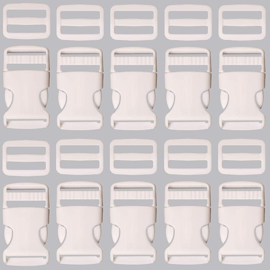 Plastic Buckle 1 Inch   Single Adjust Side Quick Release Replacement Clips with Slides for Dog Collars, Webbing Strap and Backpack Repair   White, 10 Sets