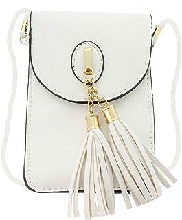Women's Small Tassel Crossbody Wallet Clutch bag with Touch Screen Window