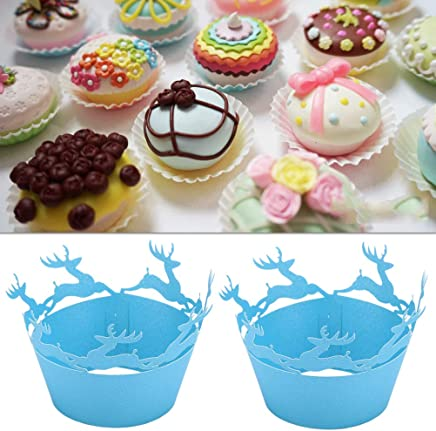 TOYANDONA 50pcs Wrappers Little Fawn Pattern Lovely Laser Cut Creative Delicate Liner Cupcake Wrapper Cups for Baking Wedding Birthday Party Decoration Home 50pcs Blue