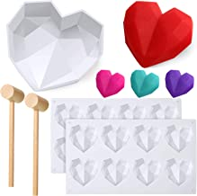 Diamond Heart Mold Love Shape Silicone Mold Non-Stick Dessert Mold Trays Chocolate Mousse Dessert Baking Pan Silicone Fondant Mold with 2 Pieces Mini Wooden Hammers for Home Kitchen DIY Tools