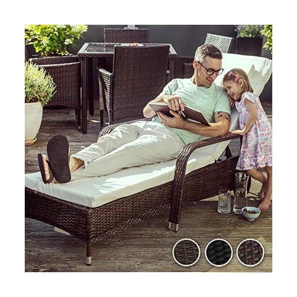TecTake 800077 Polyrattan Gartenliege, 6-Fach höhenverstellbar, mit gummierten Rädern, inkl. Kissen - Diverse Farben…