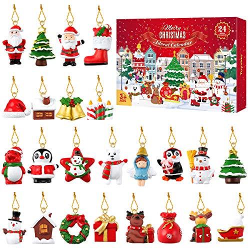 Tomaibaby Calendario Dellavvento 2021,24 Pezzo Confezione Regalo Decorazione Calendario Conto alla Rovescia di Natale per Albero di Natale, Mini Ornamenti Natalizi in Resina