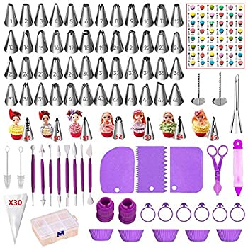 ANSLYQA 118 Pcs Icing Piping Tips and Bags Set with 56 Numbered Icing Tips,Pattern Chart,30 Pastry Bags,2 Couplers,8 Carved Pens,3 Scrapers,5 Silicone Cupcake Molds,1 Cake Pen for Cake Decorating