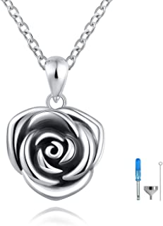 ACJFA Sterling Silver Rose Flower Cremation Urn Pendant Necklace Keepsake Ashes Memorial Jewelry for Women