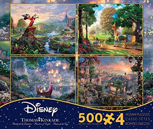 Disney(ディズニー) クラシックパズルセット 500ピース×4 【ミッキーマウス】【クマのプーさん】【塔の上のラプンェル】【わんわん物語】 トーマス・キンケード作画 (並行輸入品) [並行輸入品]