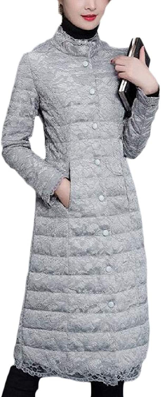 LEISHOP Women Winter Coat Button Down Packable Stand Collar Long Down Coat