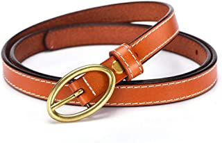 Women's Cowhide Leather Jeans Belts With Single Prong Buckle (Color : Orange)