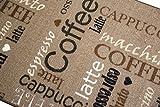 Teppich Modern Flachgewebe Gel Läufer Küchenteppich Küchenläufer Braun Beige Schwarz Creme mit Schriftzug Coffee Cappuccino Espresso Macchiato Größe 80 x 300 cm - 3