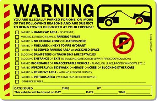 50 Yellow Fluorescent Multi-Reason Warning Stickers 8' X 5'