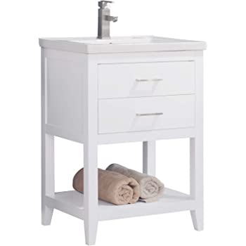 """LUCA Kitchen & Bath LC24FWP Dublin 24"""" Bathroom Vanity Set in White Made with Hardwood and Integrated Porcelain Top"""