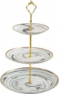 JPFS 3 Tier Ceramic Cake Stand Wedding, Dessert Cupcake Stand for Tea Party Serving Platter(Marble Grey)