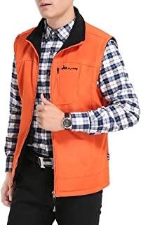 Vest Men's Jacket Warm vest Fashion Coat Outdoor (Color : Orange, Size : XXXXL)