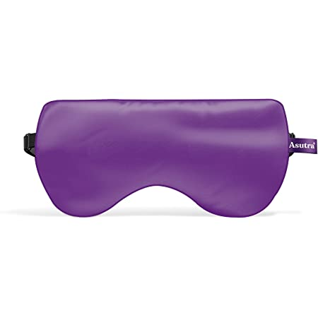 ASUTRA Silk Eye Pillow for Sleep, Purple | Filled w/ Lavender & Flax Seeds | Weighted | Meditation & Light Blocking