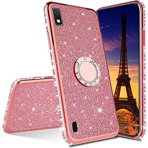 QIWEIQING Compatibile con Cover per Samsung Galaxy J6 Plus / J6 Prime Custodia Protettiva Ultra Sottile con Glitter Custodia Protettiva in Rotante Custodia per Samsung J6 Plus Rose Gold KDL
