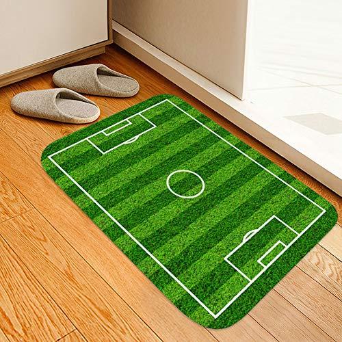 Redxiao 1PCS Tapis De Porte Antidérapant, Terrain De Football, Motif De Champ Vert, Motif 3D Et Absorption d
