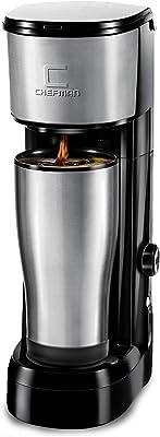 Chefman Instabrew Single Serve Coffee Maker Brewer for K-Cup Pods Fresh Grounds & Loose-Leaf Tea w/Instant Reboil & Bonus Reusable Filter, Compact 14 oz, Black/Stainless Steel, Mug Not Included
