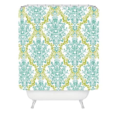 Pale Blue, Green and White Damask Shower Curtain