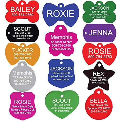 GoTags Pet ID Personalized Pet Tags for Dogs and Cats. Front & Backside Engraving and Sizes. Anodized Aluminum. Badge Shape Regular.