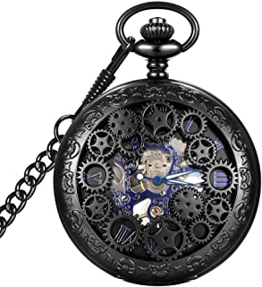 LYMFHCH Steampunk Blue Hands Scale Mechanical Skeleton Pocket Watch with Chain Xmas Fathers Day Gift