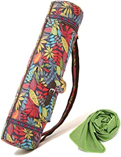 Yoga Mat Bag and Carrier with Sport Towel, Yoga Mat Sling Bag, Canvas, Eco Friendly Printing, Adjustable Strap, with 2 Fun...