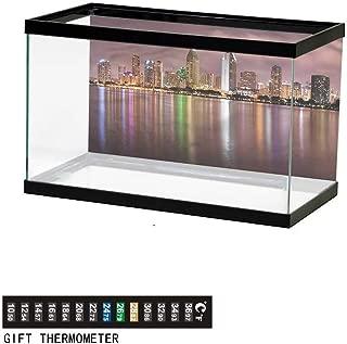 Khaki home Fish Tank Backdrop USA,Las Vegas Street Sketchy,Aquarium Background, Thermometer Sticker