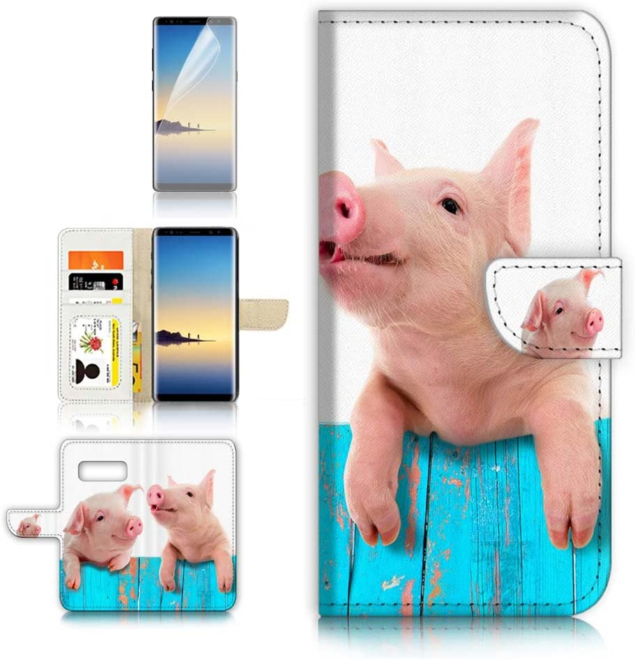 (for Samsung Note 8, Galaxy Note 8) Flip Wallet Case Cover & Screen Protector Bundle! A8645 Cute Baby Pig