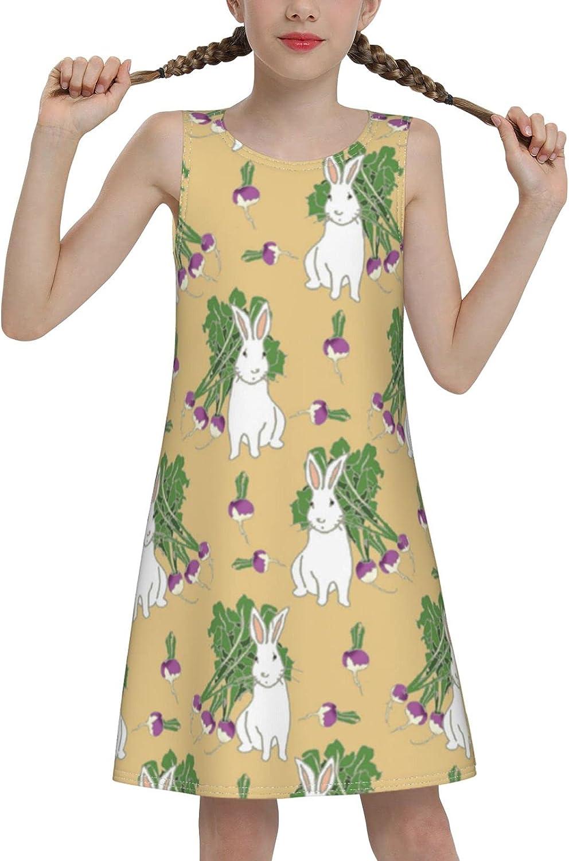 Rabbit Sleeveless Dress for Girls Casual Printed Vest Skirt