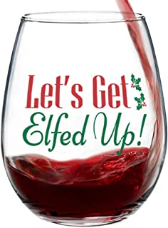 Let's Get Elfed Up Stemless Christmas Wine Glass for Fun Christmas Holiday Present with Gift Box - 15 Ounces
