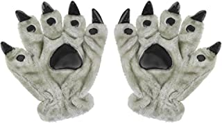 3D Animal Claw Paw Gloves Cosplay Bear Monster Dinosaur Mitts Thermal Hand Warmer Winter Finger Gloves Werewolf Hand Gloves for Halloween Costume Props Christmas Birthday Gift Unisex