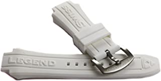Swiss Legend 19MM White Silicone Rubber Watch Strap & Silver Stainless Buckle fits 53mm Neptune Watch