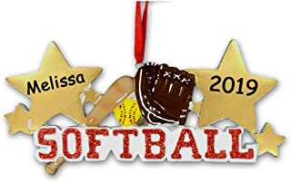 Personalized Slow Pitch or Fast Pitch Softball Player Sports Ball and Glove with Bat and Gold Stars Hanging Christmas Ornament with Custom Name and Date