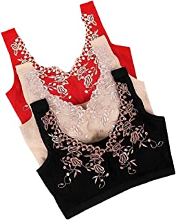 Energy Womens Embroidered Cozy Seamless 3/4 Cup Three Pieces Wire-Free Sports Bras