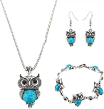 ILJILU Owl Jewelry Sets Retro National Style Owl Turquoise Accessories (Bracelet Necklace Earrings)