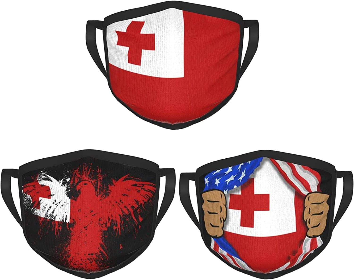 Blood Inside Me Tonga 3 Packs Of Reusable And Washable Face Masks Balaclava Masks For Men And Women